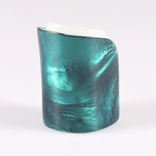 Tacco in abs rivestito in resina effetto madreperla blu